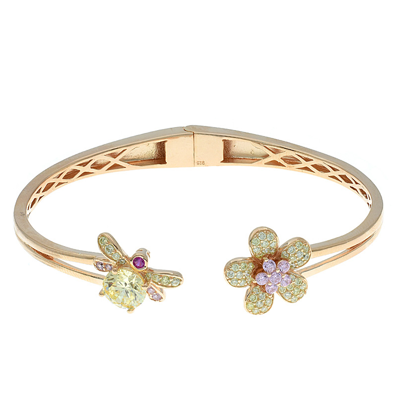 Women Flower & Bee Open Bangle