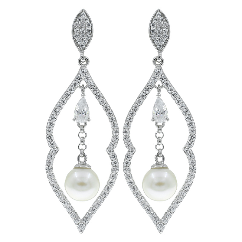 Open Drop Pearl Women Earrings