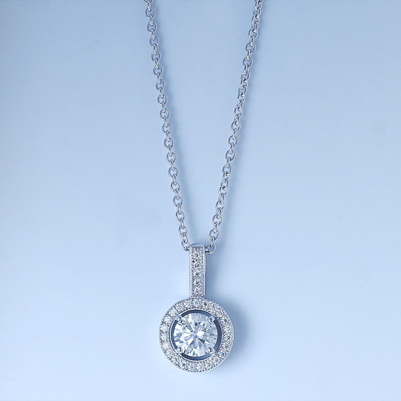 Halo Diamond Pendant Necklace